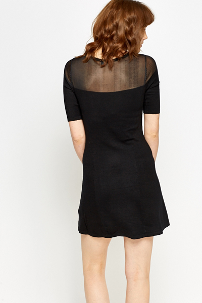 Black Contrast Swing Dress