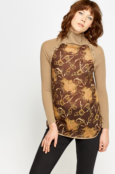 High Neck Printed Top