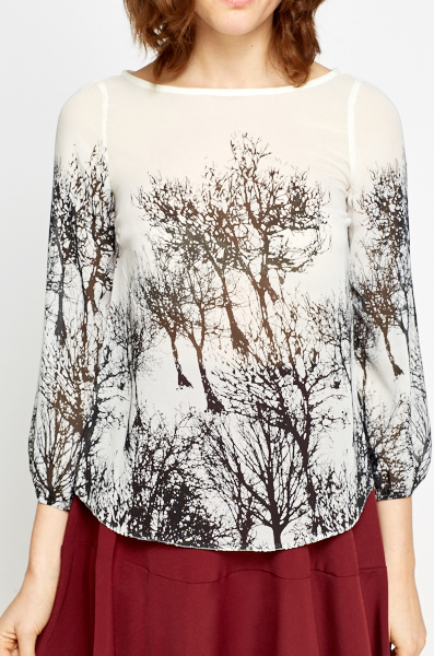 Mono Tree Print Sheer Blouse