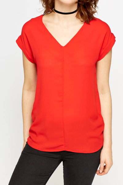 Red V-Neck Top