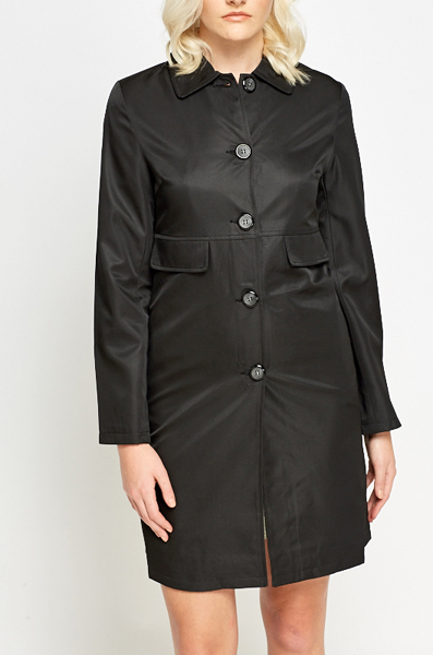 Black Hi Shine Trench Coat