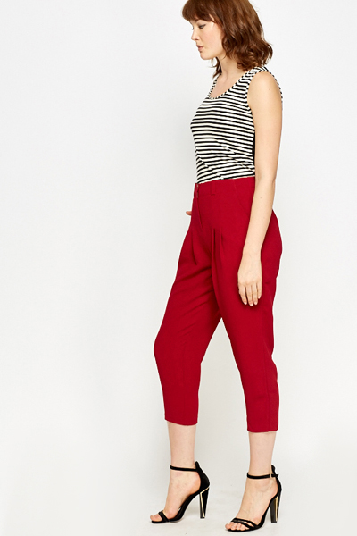 Burgundy Tapered Cropped Trousers