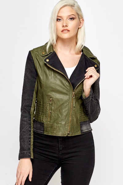 Denim Trim Faux Leather Biker Jacket