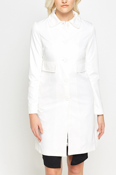 Off White Hi Shine Trench Coat