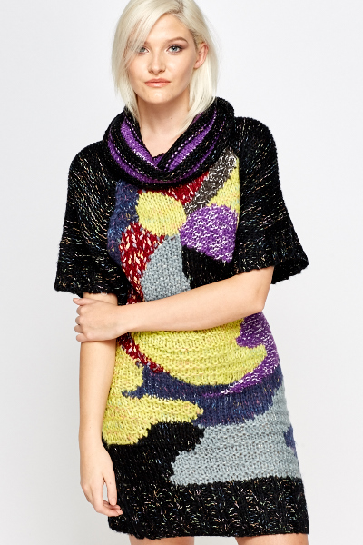 Roll Neck Abstract Front Jumper Dress