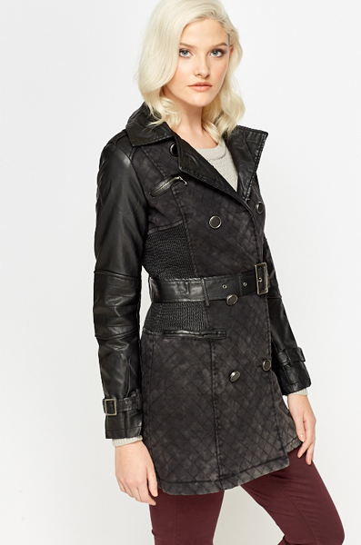 Washed Black PU Trench Coat