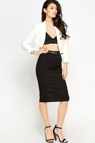 High Waist Belted Skirt
