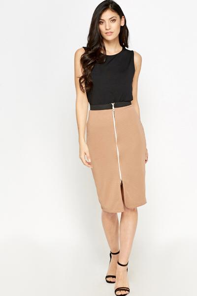 Light Brown Zip Front Skirt - Just £5