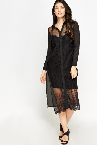 Longline Sheer Embroidered Blouse