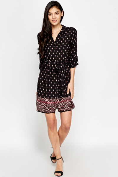 Printed Border Shirt Dress