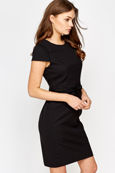 Black Bow Waist Pencil Dress
