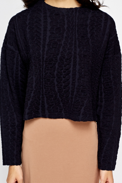 Navy Cropped Textured Top