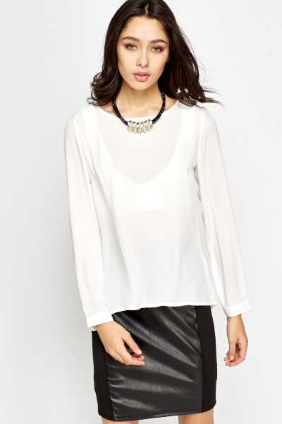 Off White Split Back Blouse