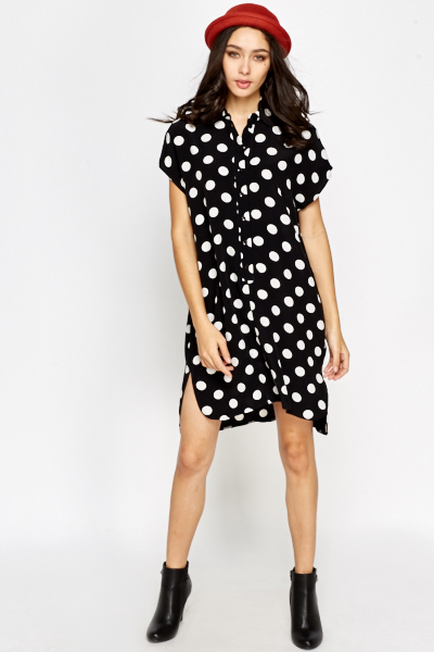 Womens Size S LTB by Little Big Stretch Polka-dot Short Shirt Dress. Arm pit to arm pit measures 16