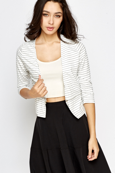 Zip Detail Striped Blazer