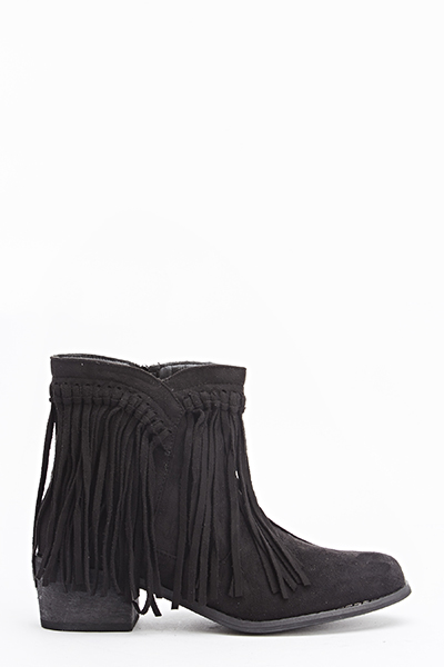 Black Fringed Trim Boots