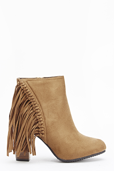 Camel Fringed Side Boots