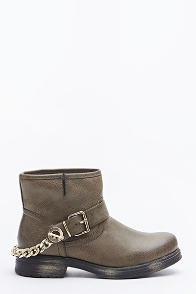 Khaki Chain Back Boots