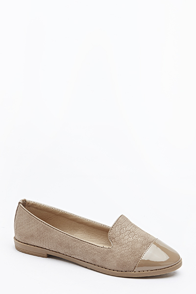 Khaki Mock Croc Pumps