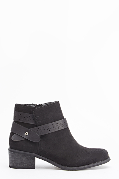 Laser Cut Strap Ankle Boots