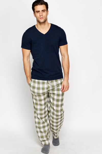 Dark Red Check Lounge Trousers