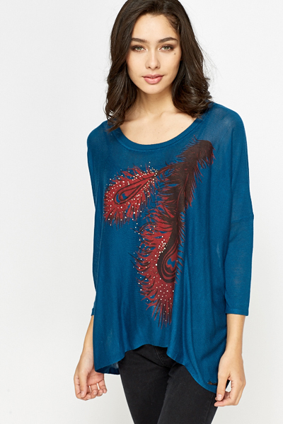 Feather Print Asymmetric Top