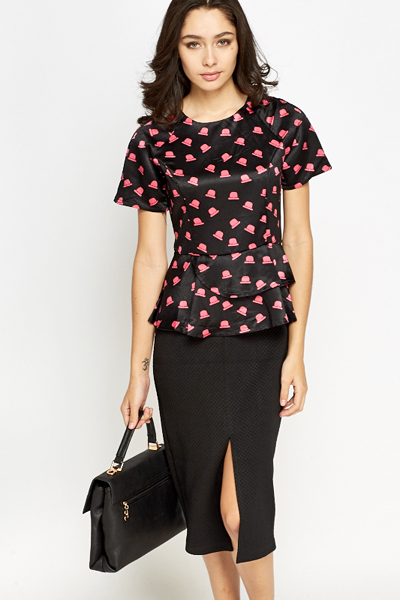 Hat Print Peplum Top