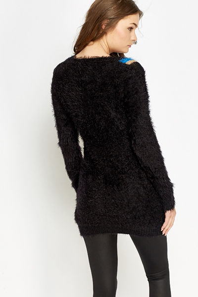Long Embellished Fluffy Jumper