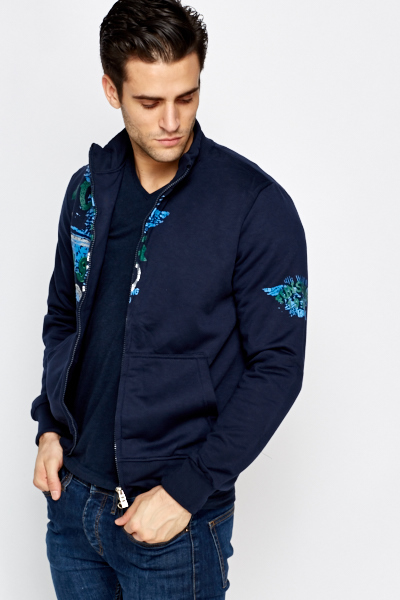 Navy Printed Front Jacket