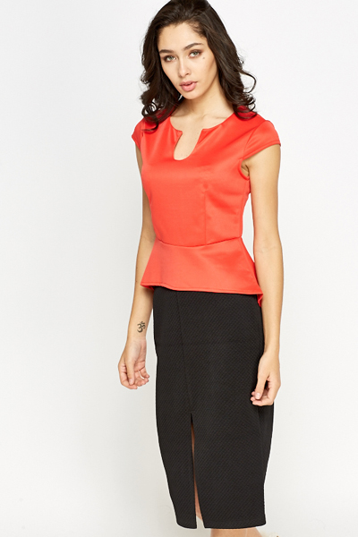 Red Asymmetric Peplum Top