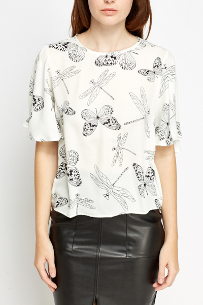 Butterfly Print Silky Top