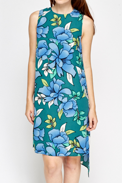 Green Floral Asymmetric Dress