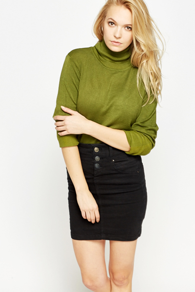 Ribbed Turtle Neck Jumper