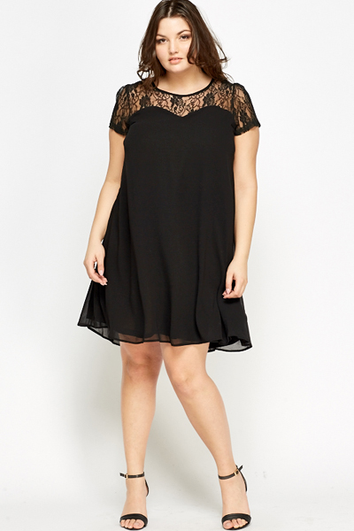 b39f7cd0ed463 Black Lace Yoke Swing Dress - Just £5