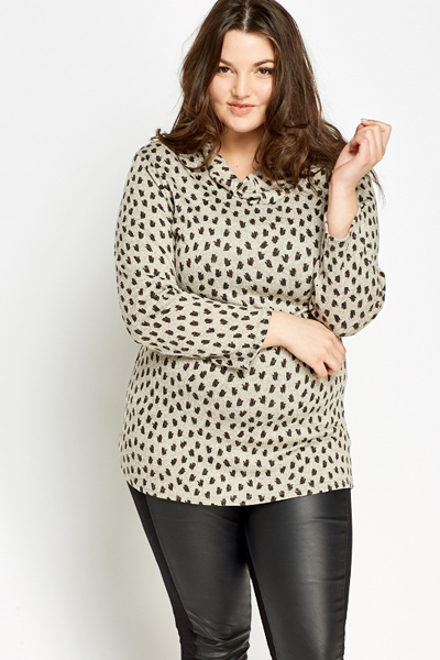 Grey Cat Print Tunic
