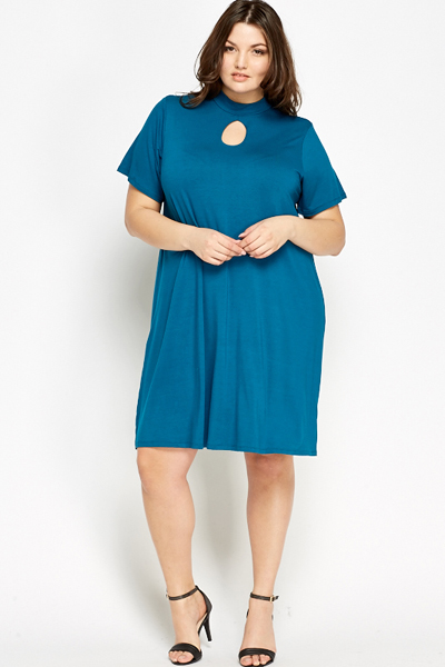 High Neck Teal Swing Dress