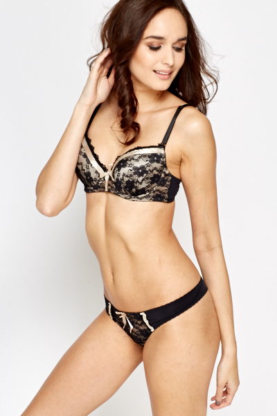 Lace Ribbon Bra And Thong Set