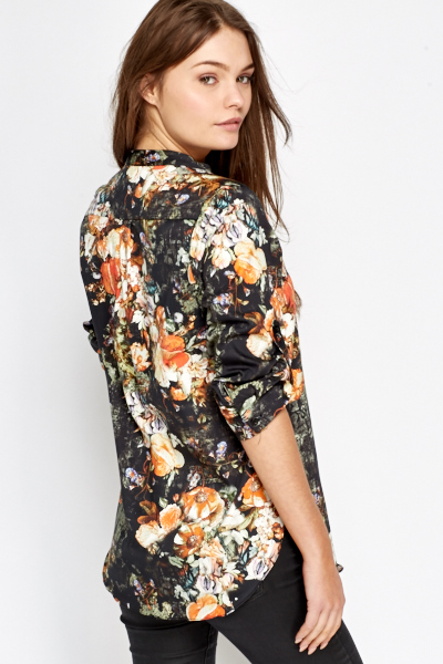 Charcoal Floral Blouse