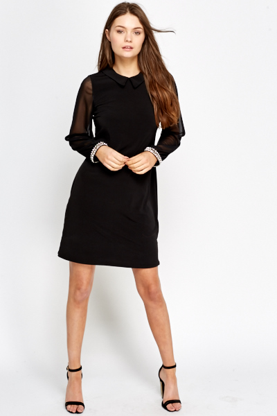 Encrusted Cuff Collared Dress
