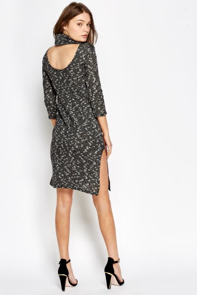 High Neck Speckled Mini Dress