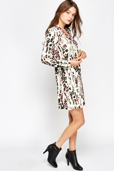 Leopard Cream Multi Print Dress