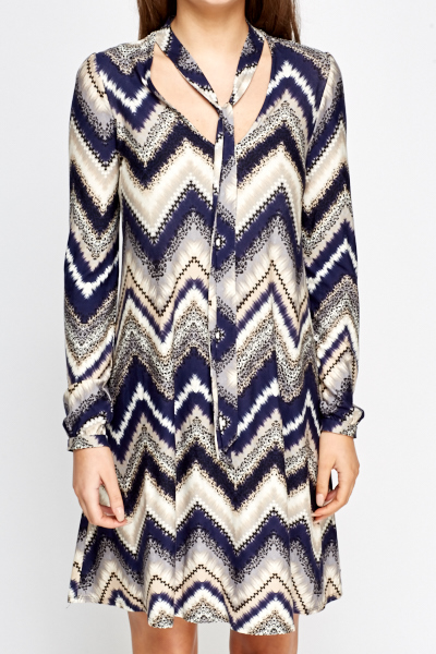 Navy Multi Zig Zag Dress
