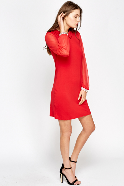 Red Sheer Sleeve Collared Dress