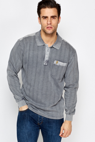 Striped Long Sleeve Polo Top
