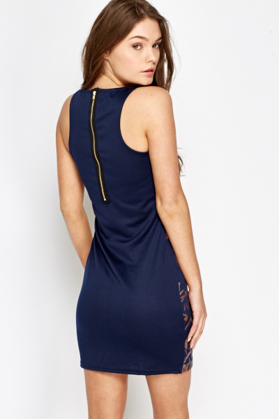 Tapestry Trim Bodycon Dress