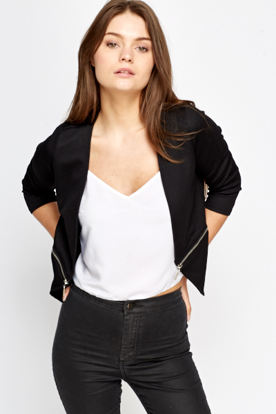 Textured Zip Detail Blazer