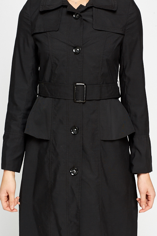 Black Peplum Side Trench Coat