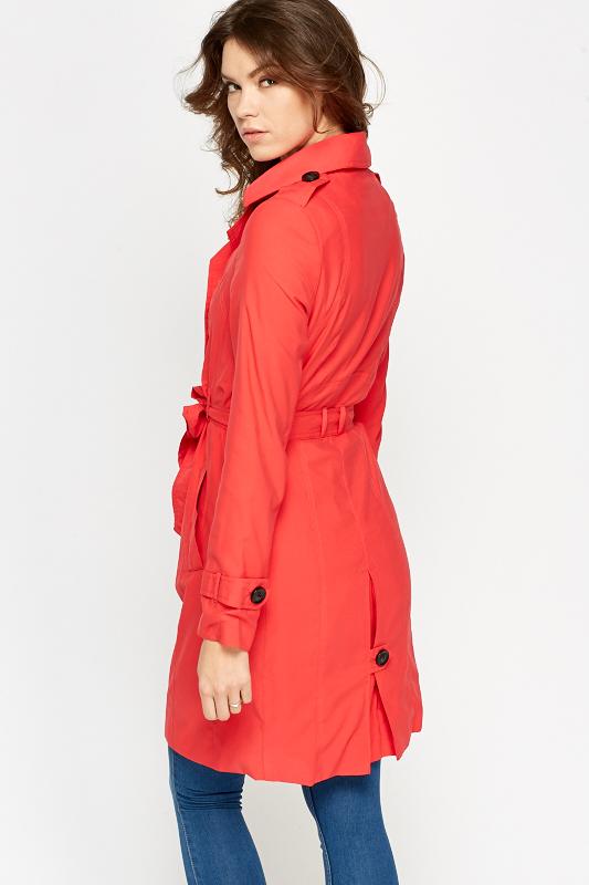 Double Breasted Red Trench Coat