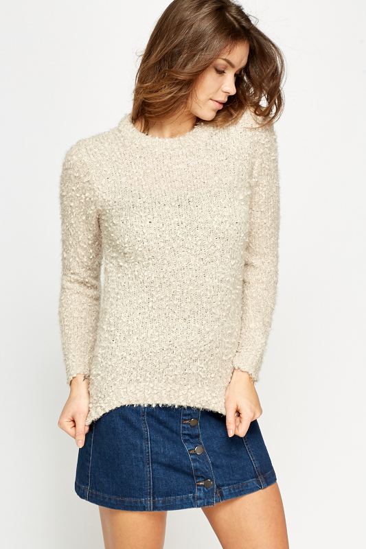 Round Neck Fluffy Jumper