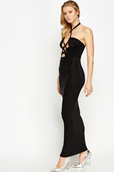 Strappy Front Cut Out Maxi Dress